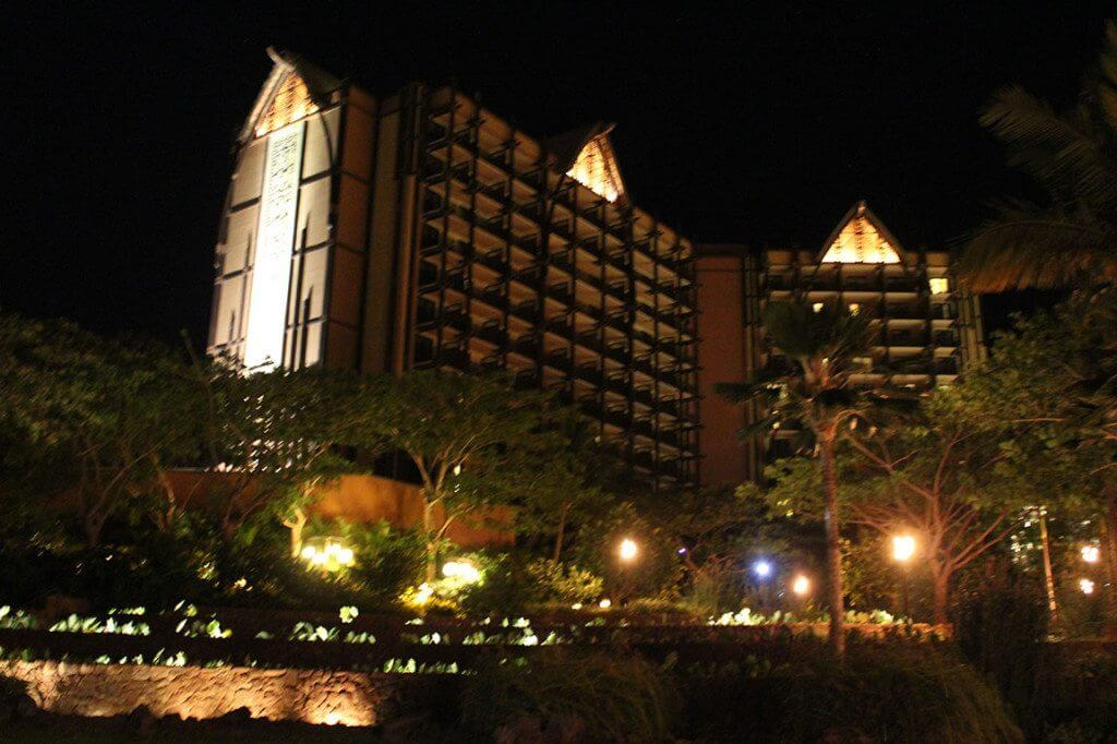 Street view of Aulani at night.