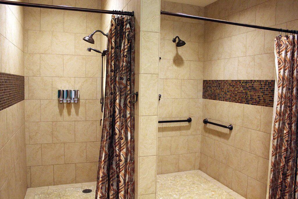 Luana Lounge showers in women's restroom/locker room.