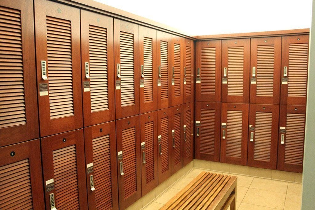 Luana Lounge. Lockers located in the Women's restroom/locker room.