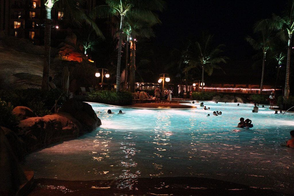 Aulani pool at night.